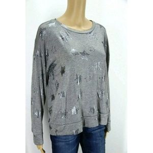 New Cupio Women Sweatshirt Pullover Gray Star